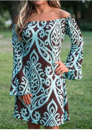 Printed Off Shoulder Flare Sleeve Dress