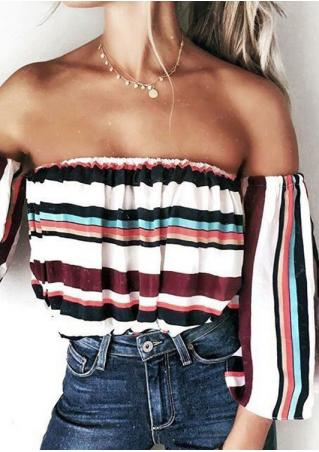 Striped Off Shoulder Detachable Sleeves Blouse without Necklace
