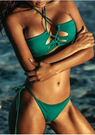 Solid String Halter Hollow Out Bikini Set