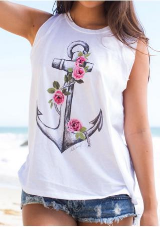 Anchor Floral Tank
