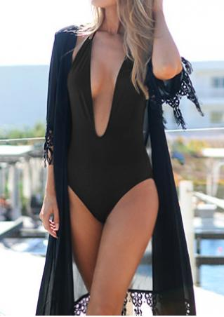 Solid Deep V-Neck Halter Swimsuit