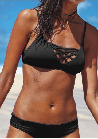 Solid Criss-Cross Bikini Set without Necklace