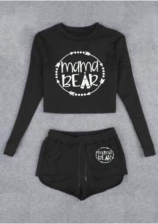 Mama Bear Crop Top and Shorts Set