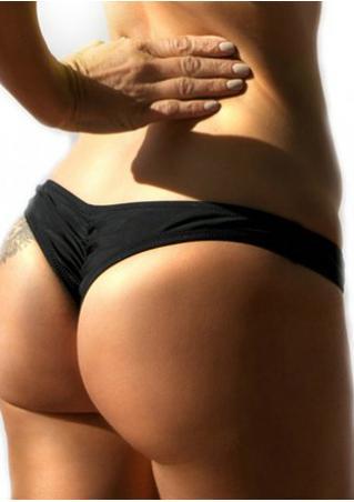 Solid Ruffled Bikini Panties