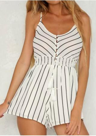 Striped Tassel Spaghetti Strap Backless Romper