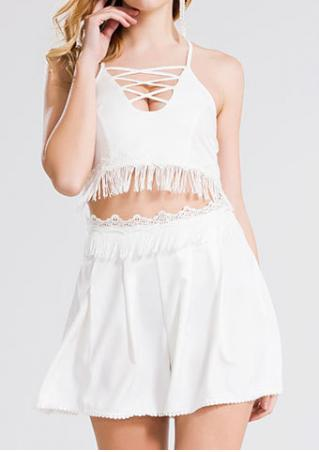 Solid Tassel Criss-Cross Crop Top and Shorts Set