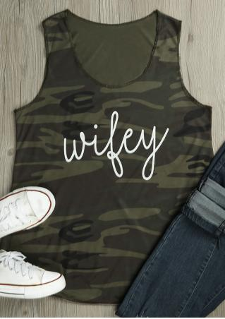 Wifey Camouflage Printed Tank