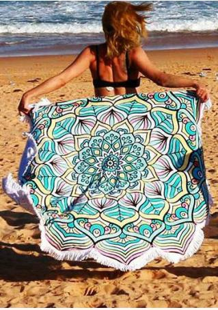 Mandala Tassel Splicing Round Blanket