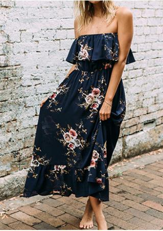 Floral Ruffled Layered Off Shoulder Maxi Dress