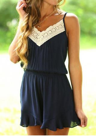 Lace Floral Splicing Romper without Necklace