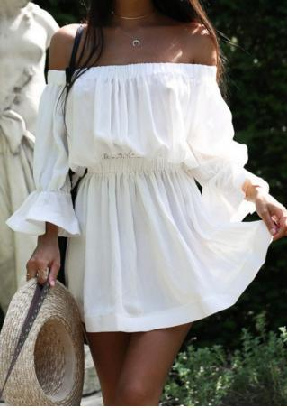 Solid Off Shoulder Ruffled Mini Dress without Necklace