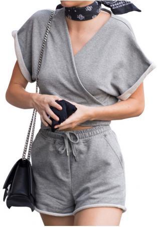 Solid V-Neck Crop Top and Shorts Set