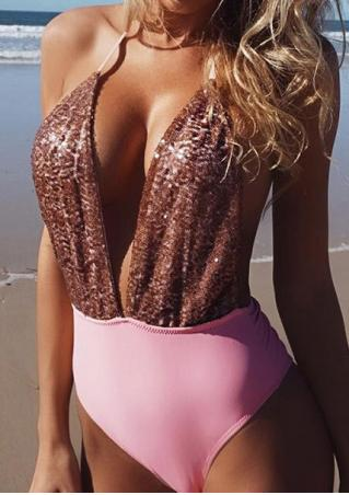 Sequined Halter Backless Deep V-Neck Swimsuit
