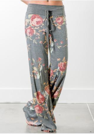 Floral Loose Wie Leg Pants