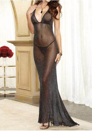 See-Through Deep V-Neck Lingerie Dress without Necklace