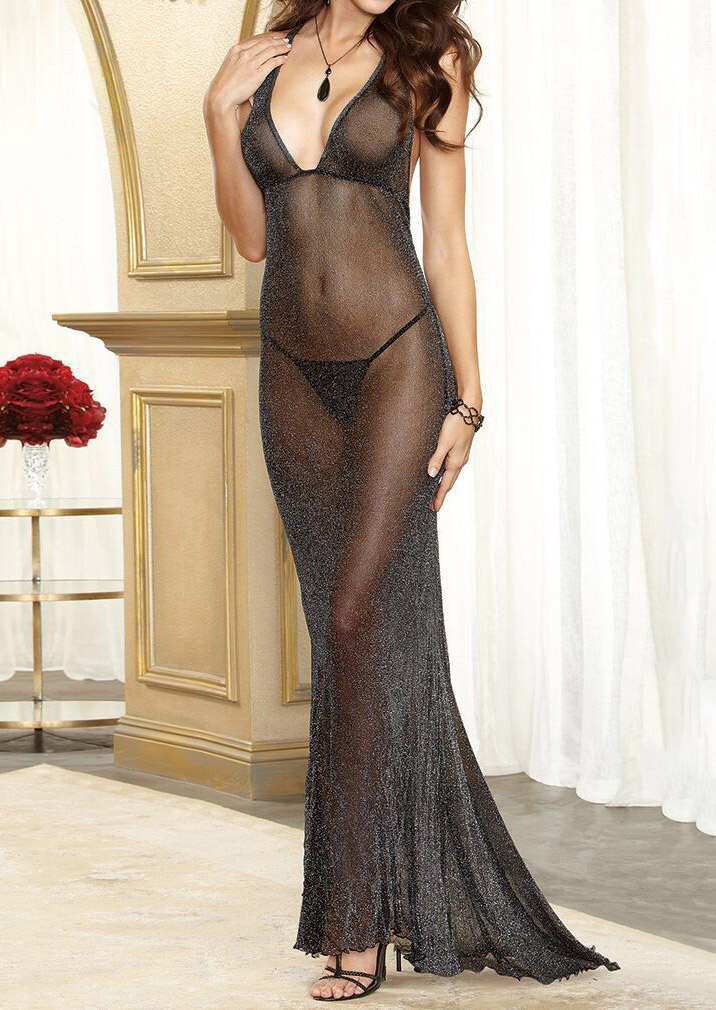 See-Through Deep V-Neck Lingerie Dress without Necklace - Bellelily