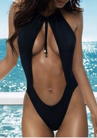 Solid Hollow Out Backless Swimsuit