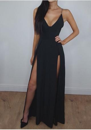 Solid Slit Maxi Dress