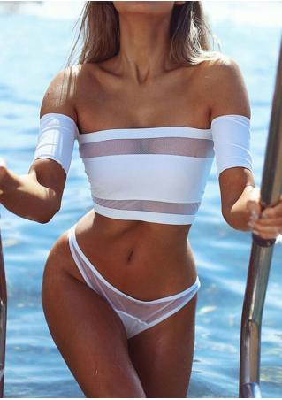 Solid Mesh Splicing Off Shoulder Bikini Set