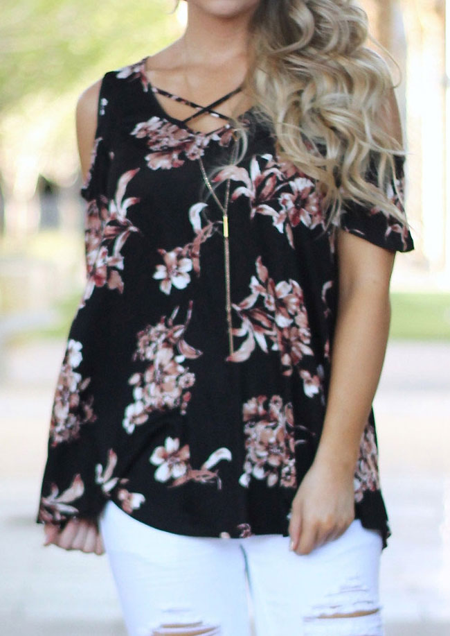 d6750a41acd850 Floral Criss-Cross Cold Shoulder Blouse without Necklace - Bellelily