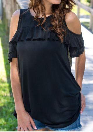 Solid Frill Cold Shoulder Ruffled Blouse