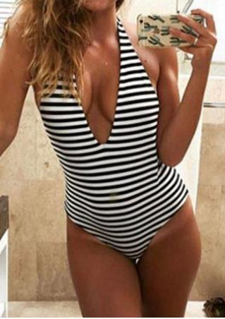 Striped Deep V-Neck Backless Halter Swimsuit