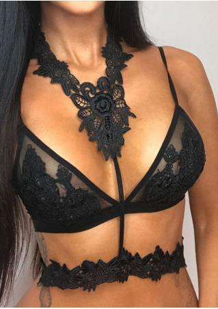 Lace Floral Mesh Bra with Choker