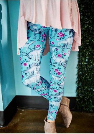 Floral Dinosaur Leggings