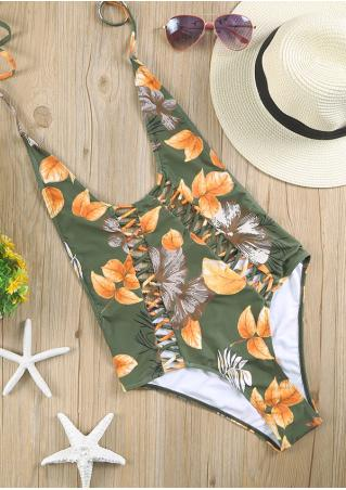 Floral Halter Hollow Out Swimsuit