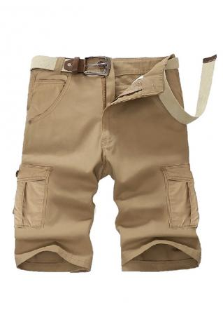 Solid Pocket Cargo Shorts without Belt