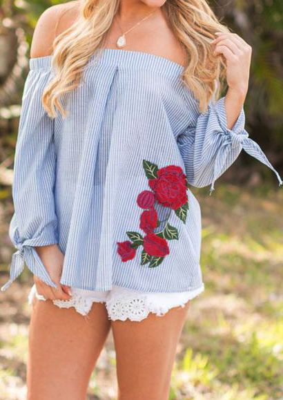 applique off shoulder blouse without necklace