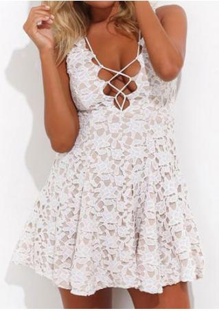 Solid Lace Double Layered Criss-Cross Mini Dress