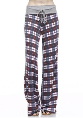Plaid Drawstring Wide Leg Pants