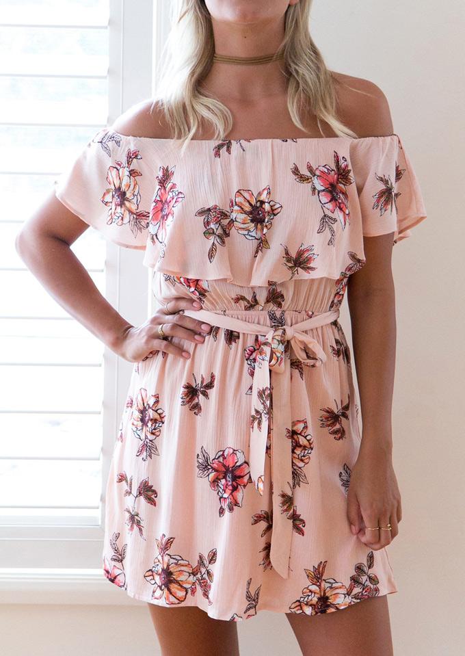 Floral Off Shoulder Mini Dress without Necklace 120994