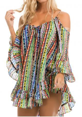 Printed Cold Shoulder Halter Mini Dress