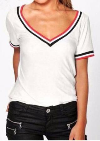 Striped V-Neck Short Sleeve T-Shirt