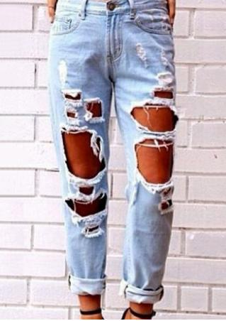 Ripped Hollow Out Jeans Pants
