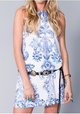 Floral Mini Dress without Necklace and Belt