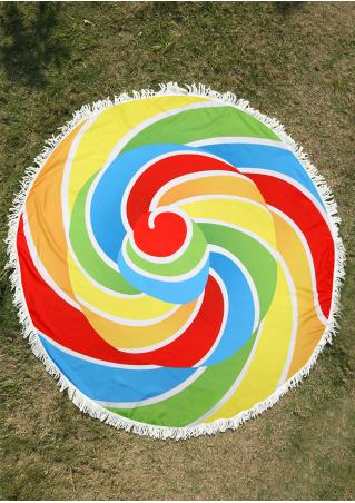 Lollipop and Pizza Tassel Splicing Beach Blanket