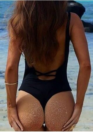 Solid Criss-Cross Backless Swimsuit