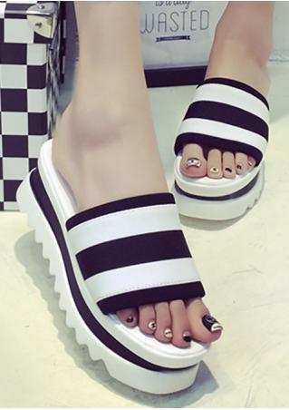 Flat Striped Chunky Wedge Sandals