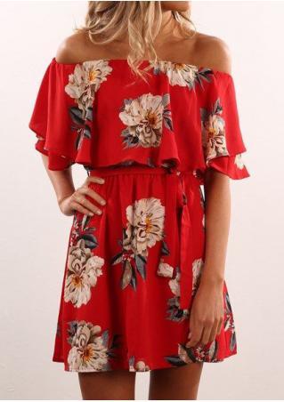 Floral Frill Off Shoulder Mini Dress with Belt