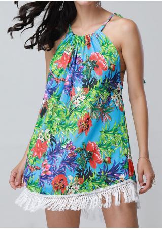 Floral Tassel Mini Dress