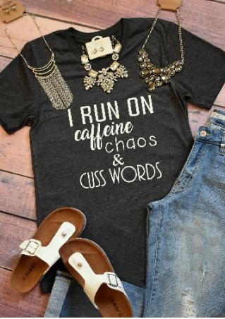 I Run On Caffeine Chaos & Cuss Words V-Neck T-shirt