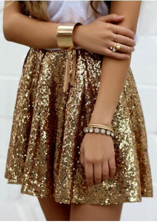 Solid Sequined Mini Skirt