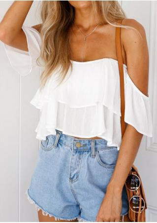 Solid Layered Off Shoulder Crop Top without Necklace