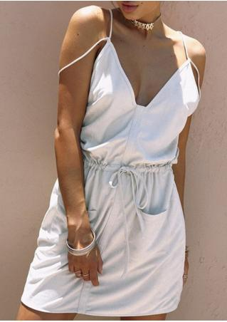 Solid Spaghetti Strap Pocket Mini Dress without Necklace