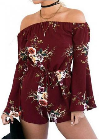 Floral Off Shoulder Flare Sleeve Romper without Necklace