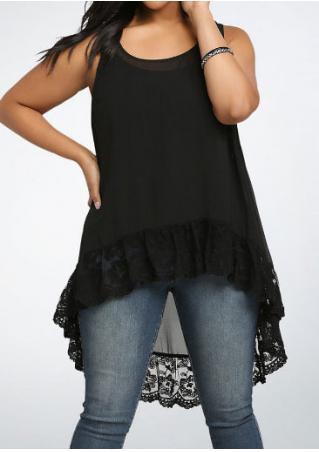 Solid Lace Floral Plus Size Asymmetric Blouse