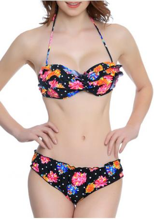 Floral Layered Halter Bikini Set